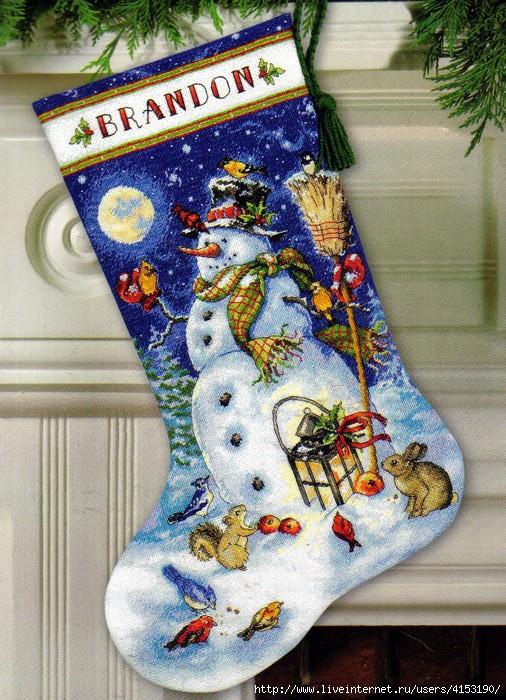 Dimensions 08839 Snowman & Friends Stocking (506x700, 340Kb)