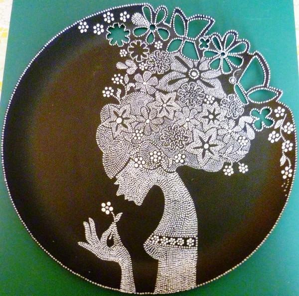 Точечная роспись контурами тарелок