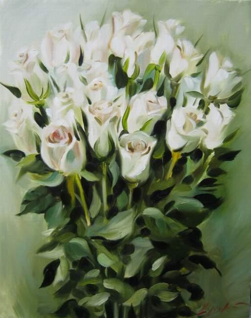 Фото белые розы картины художника