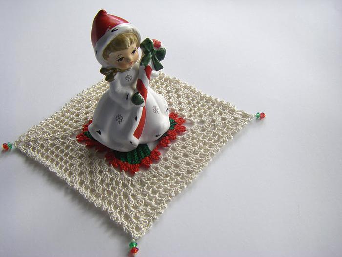 【转载】钩针:新年的餐巾垫