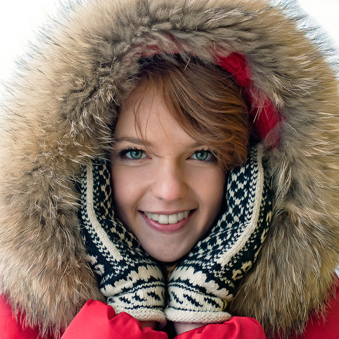 Улыбка девушки портрет зима woman portrait