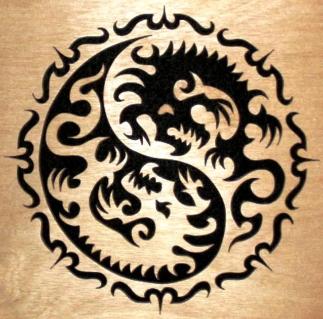 Драконы. Выпиливаем лобзиком. 79395974_YinYang_Dragons