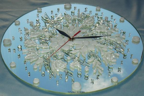 644. часы ХРУСТАЛЬНАЯ НЕЖНОСТЬ, стекло, зеркало, ручная работа на заказ (600x400, 79Kb)