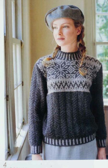 Пуловер с норвежским узором.