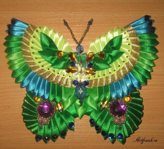 Бабочка своими руками из атласных лент фото