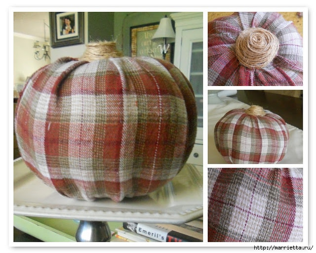 flannel pumpkin, plaid, autumn, fall, twine (640x512, 230Kb)