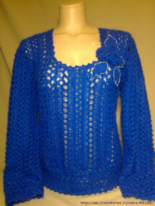 Вязание на вилке пуловер 689