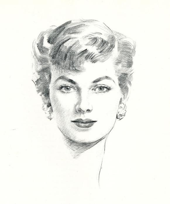Женская голова рисуем карандашом