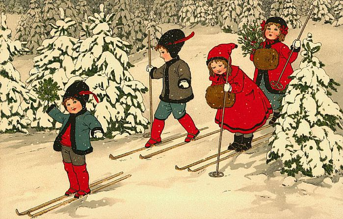 Винтажные рождественские и новогодние открытки ХХ века (57 открыток) .
