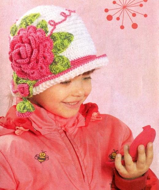 Теплые шапочки для девочки и
