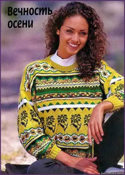 Жаккардовый пуловер в зеленых тонах.  Прочитать целикомВ.