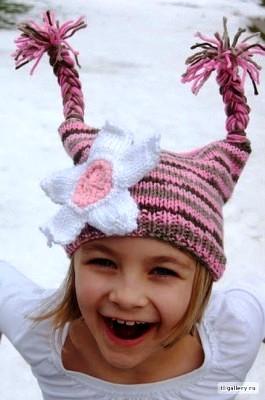 Забавные вязанные шапочки для детей.