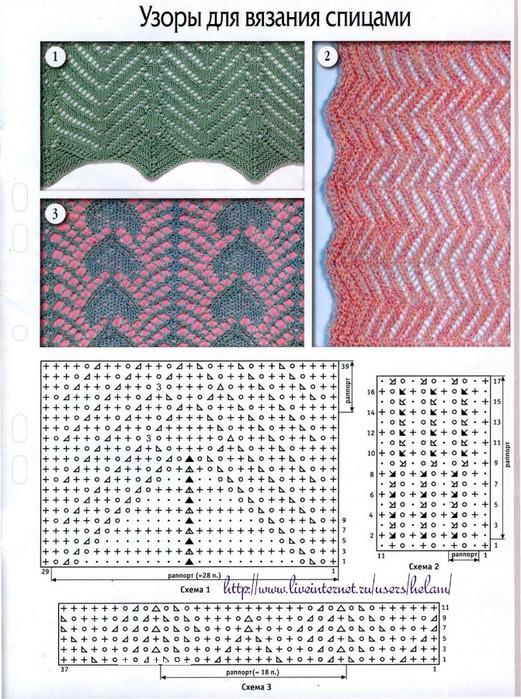 Много узоров для вязания на спицах