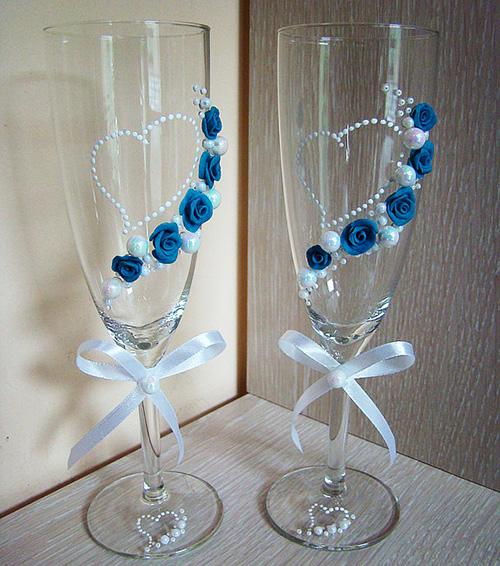 Украшения на свадебные бокалы фото своими руками