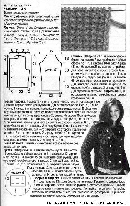 Вязание женского пиджака спицами для