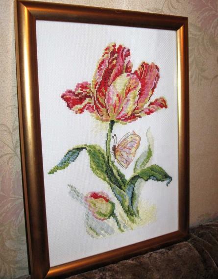 2-14 Тюльпан и бабочка (отшитая работа) (445x569, 78Kb)