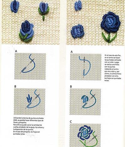 Вышивка на вязаных изделиях бисером