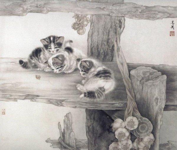 Кошки художника Сюй Синьци (2) (600x507, 61Kb)