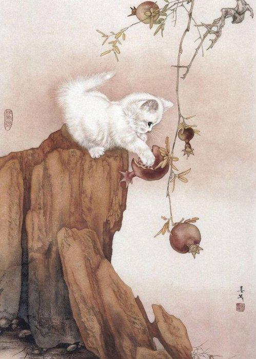 Кошки художника Сюй Синьци (4) (499x700, 69Kb)