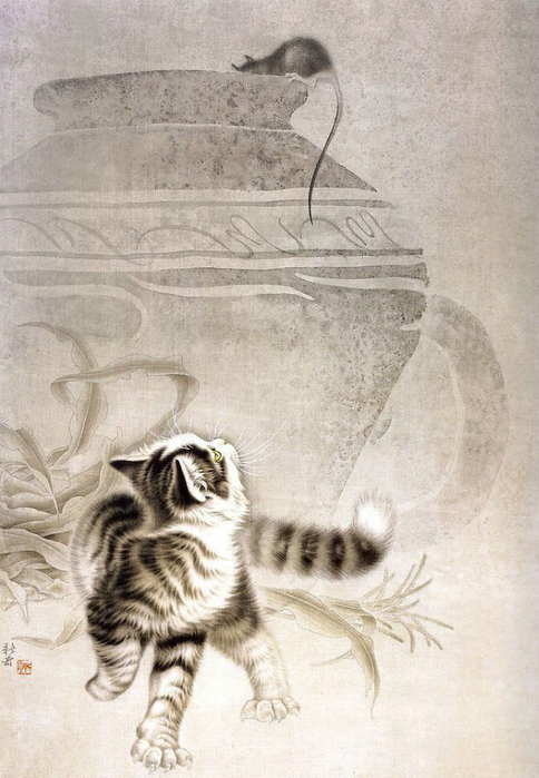 Кошки художника Сюй Синьци (7) (484x700, 342Kb)