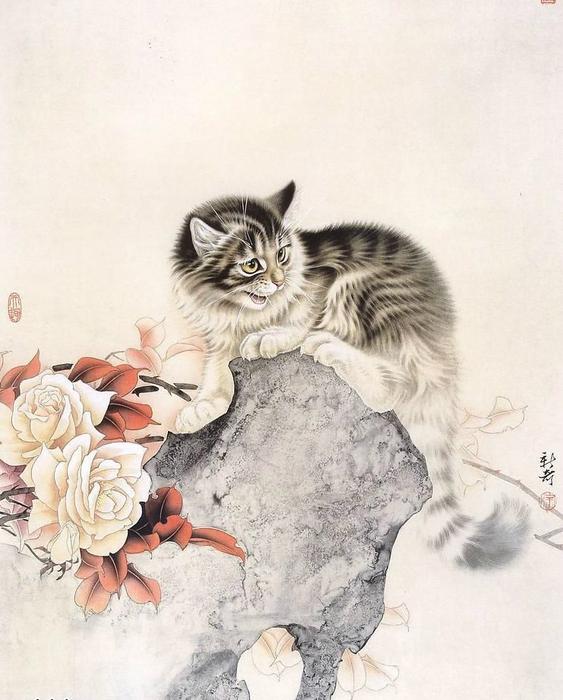 Кошки художника Сюй Синьци (9) (563x700, 327Kb)