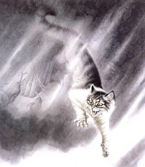 Кошки художника Сюй Синьци (12) (606x700, 344Kb)