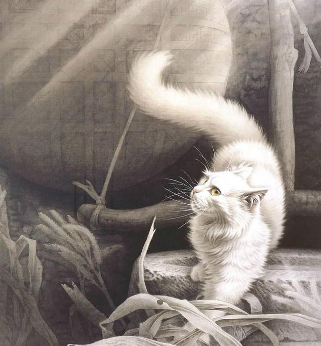 Кошки художника Сюй Синьци (13) (650x700, 394Kb)