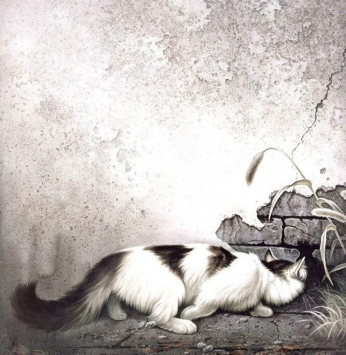 Кошки художника Сюй Синьци (15) (682x700, 496Kb)