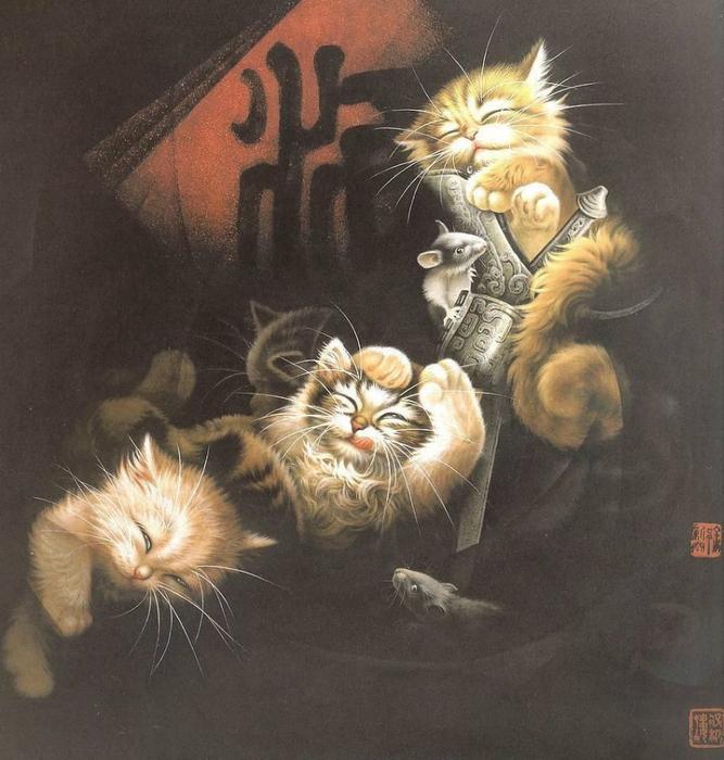 Кошки художника Сюй Синьци (16) (667x700, 412Kb)