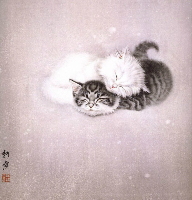 Кошки художника Сюй Синьци (17) (672x700, 386Kb)