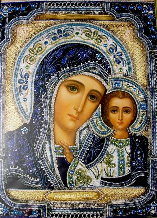 С молитвой теплой и усердной.  Мы устремляем все сердца.  Пред Казанской иконой Божией Матери.  За всех Ты молишь...