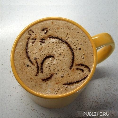 кофе с рисунком кот (500x500, 79Kb)