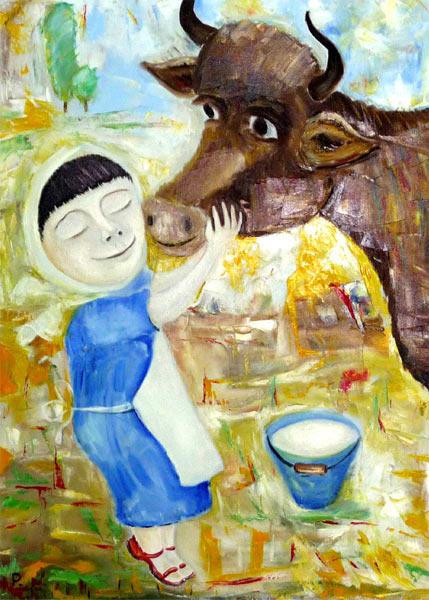 Женщина стоящая десять коров
