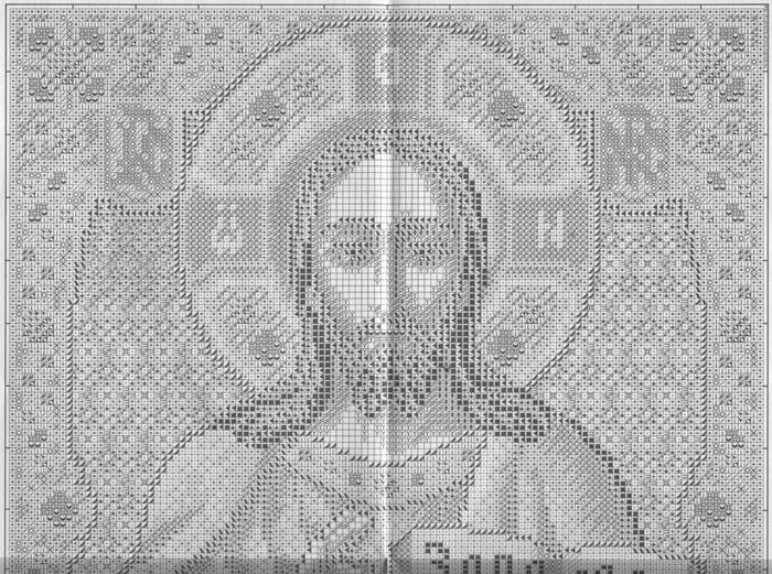 """Вышивка крестом.  Икона  """"Господь Вседержитель """".  Схемы увеличиваются по клику мышкой."""