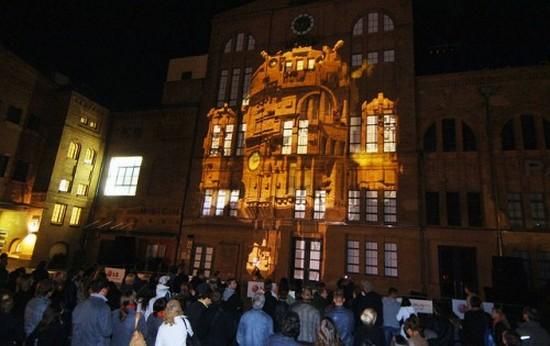 Красивое проекционное шоу LG Optimus в Берлине