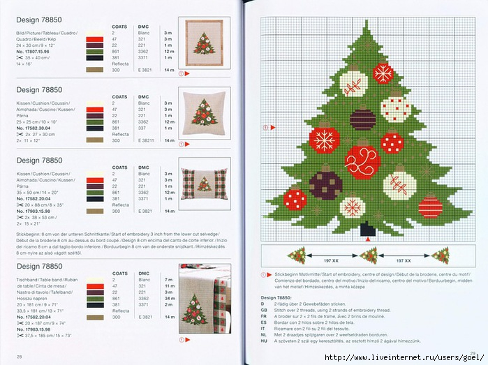 Схема вышивки крестиком елки 14