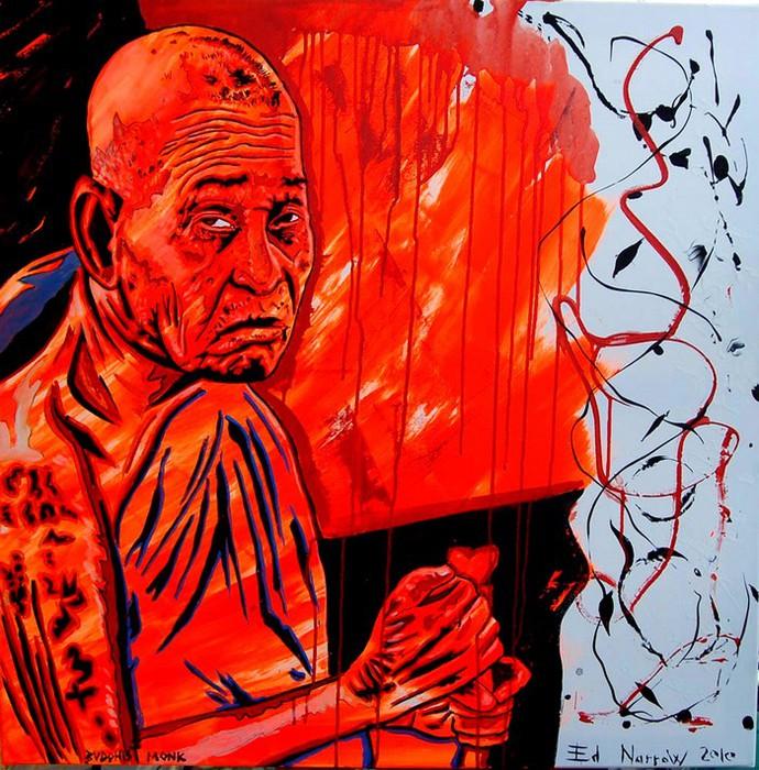 Яркий сюрреализм в искусстве Эда Нэроу (Ed Narrow) - Buddhist Monk 2010-jo (690x700, 173Kb)