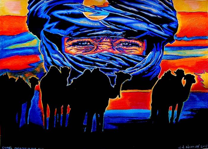 Яркий сюрреализм в искусстве Эда Нэроу (Ed Narrow) - Camel Caravan in the Sahara 2009 (700x503, 135Kb)