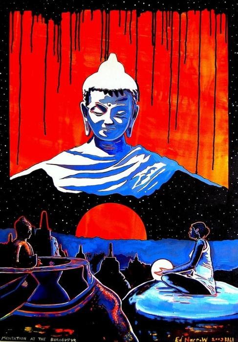 Яркий сюрреализм в искусстве Эда Нэроу (Ed Narrow) - meditation at the borobudur (487x700, 289Kb)