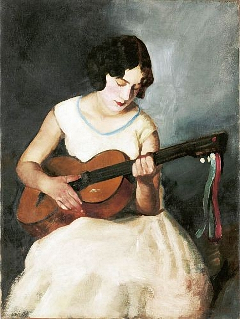 Apatfalvi, Czene Janos (1904-1984) - Guitar-playing girl (493x655, 246Kb)