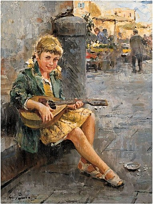 Panza, Giovanni (1894-1989) - Fanciulla con mandolino (508x677, 349Kb)