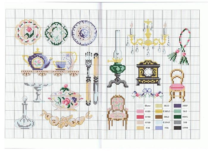 Я использую для этих целей схемы миниатюр для вышивания крестом.  Вышивка в технике рококо чем-то напоминает детство...