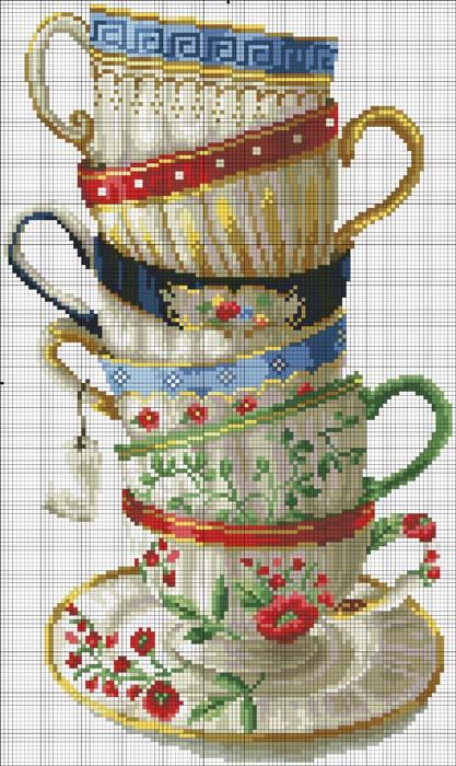 Схемы вышивки -Чайные сервизы.