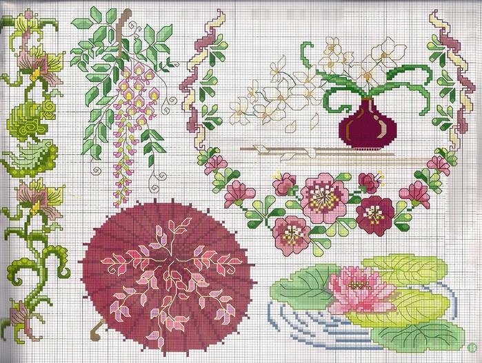 Вышивка крестиком бордюр из мелких цветочков 52