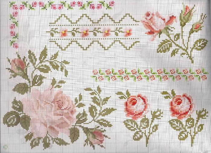 Бордюр розы вышивка крестом 90