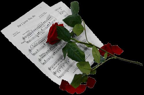 кразная роза на нотах (500x333, 119Kb)