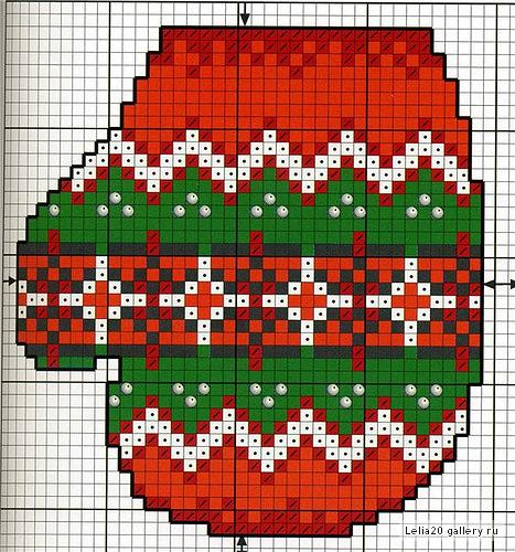 Новогодние варежки-цветные схемы вышивки.