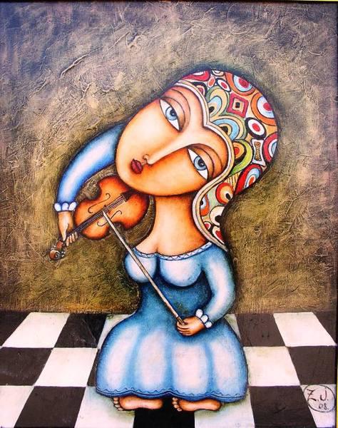 Зутлевицс Жанна. Девочка играющая на скрипке (474x600, 71Kb)