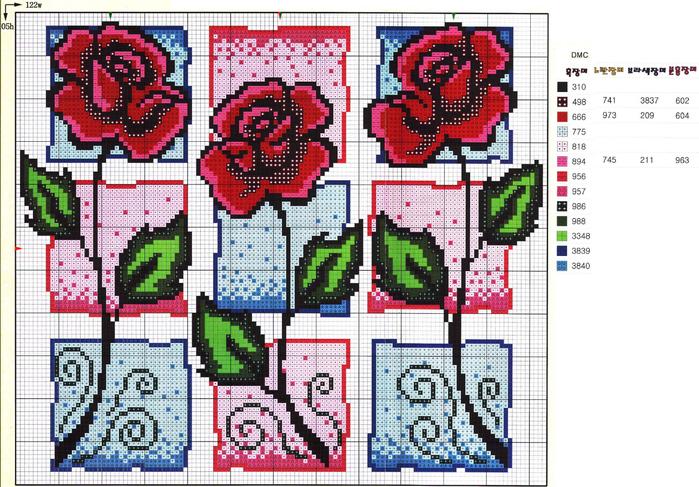 розы квадраты схема (700x487,