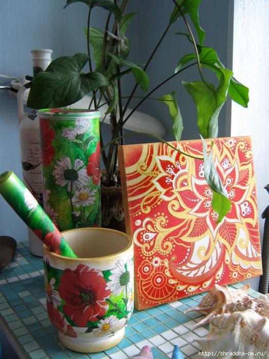 ступка Маки и ромашки, акрил, декупаж, автор Shraddha (525x700, 302Kb)